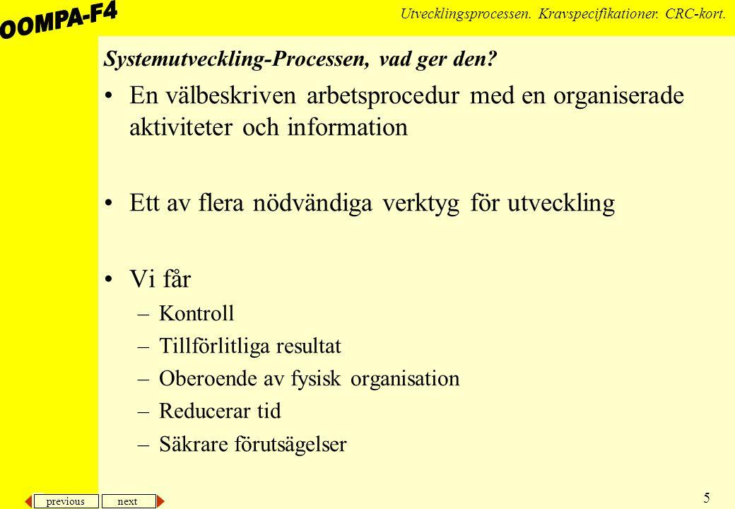 previous next 5 Utvecklingsprocessen.Kravspecifikationer.