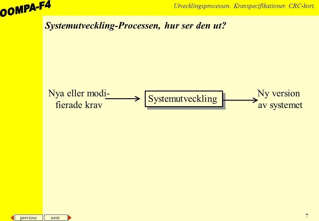 previous next 7 Utvecklingsprocessen.Kravspecifikationer.