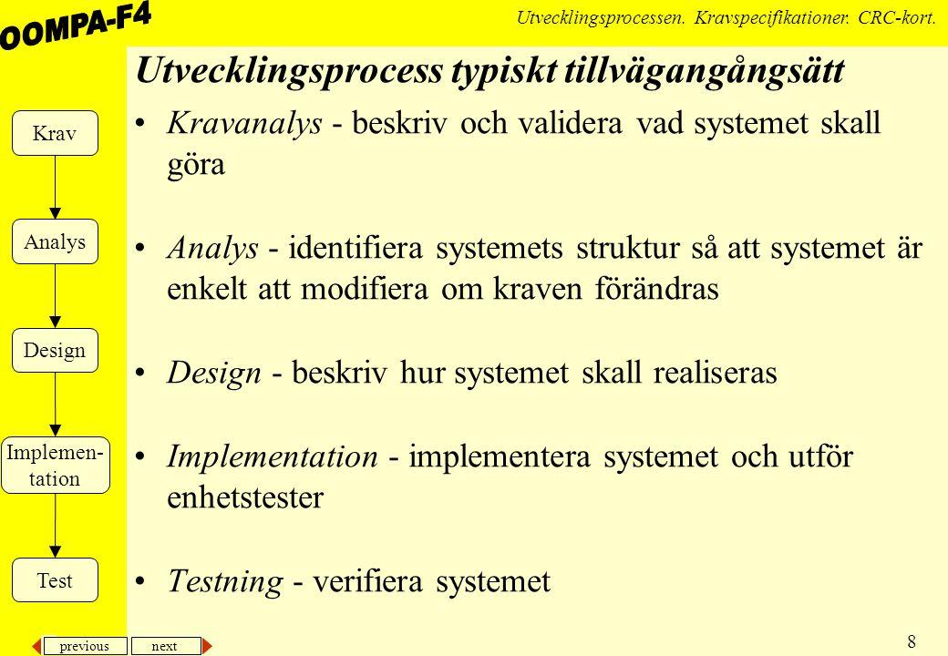 previous next 8 Utvecklingsprocessen.Kravspecifikationer.