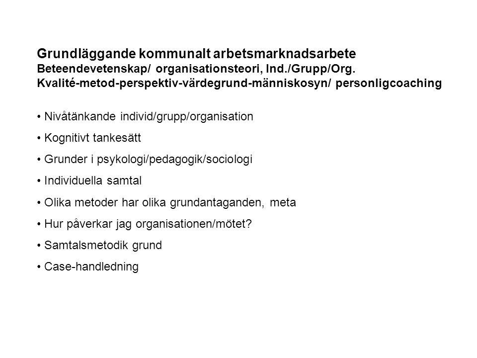 Grundläggande kommunalt arbetsmarknadsarbete Beteendevetenskap/ organisationsteori, Ind./Grupp/Org. Kvalité-metod-perspektiv-värdegrund-människosyn/ p
