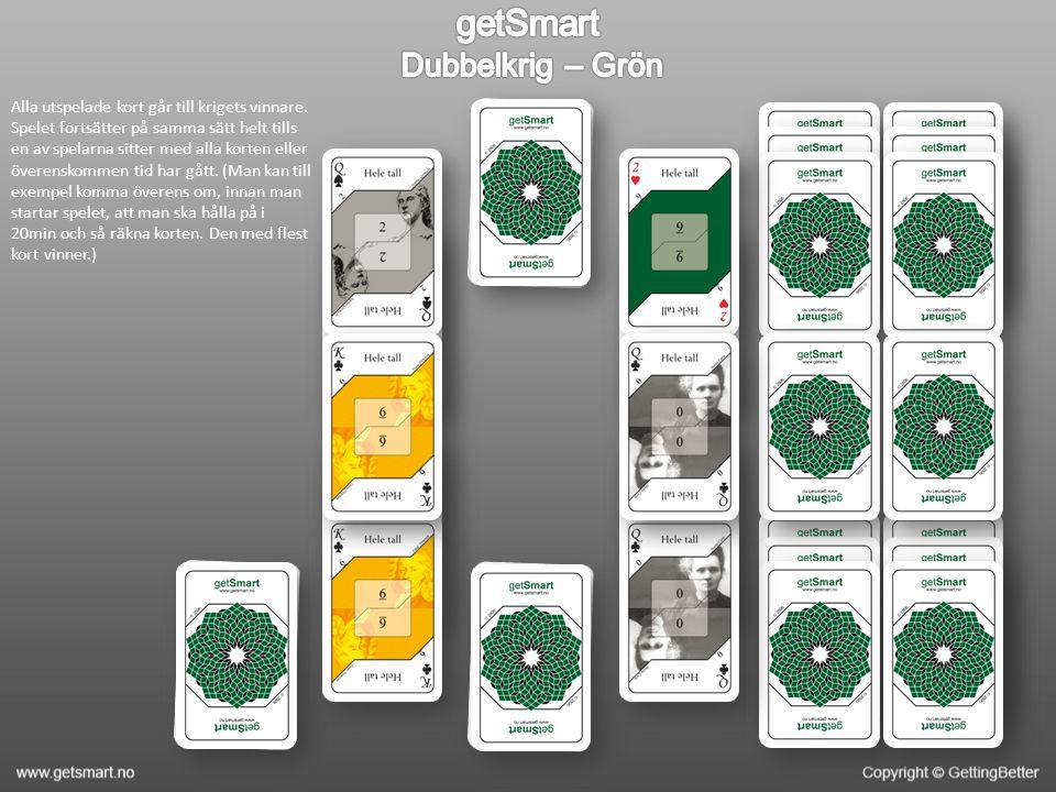 Alla utspelade kort går till krigets vinnare. Spelet fortsätter på samma sätt helt tills en av spelarna sitter med alla korten eller överenskommen tid