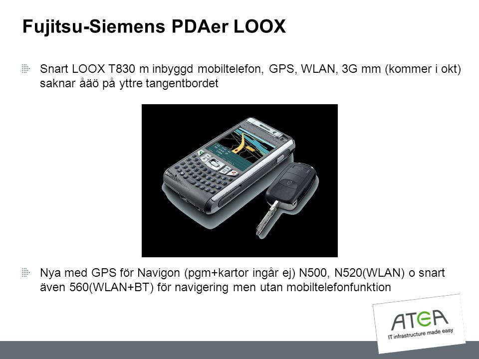 Fujitsu-Siemens PDAer LOOX Snart LOOX T830 m inbyggd mobiltelefon, GPS, WLAN, 3G mm (kommer i okt) saknar åäö på yttre tangentbordet Nya med GPS för N