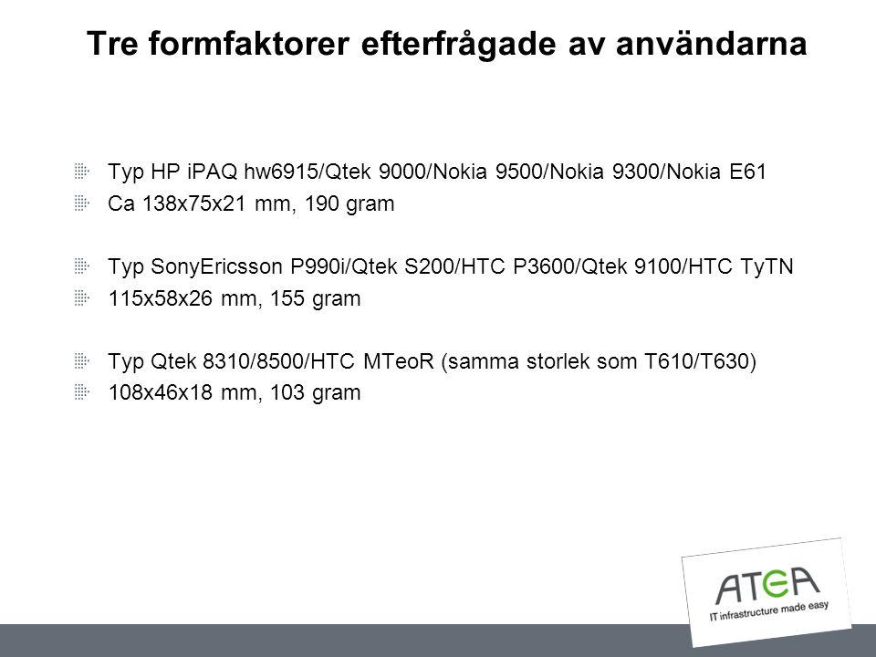 Tre formfaktorer efterfrågade av användarna Typ HP iPAQ hw6915/Qtek 9000/Nokia 9500/Nokia 9300/Nokia E61 Ca 138x75x21 mm, 190 gram Typ SonyEricsson P9