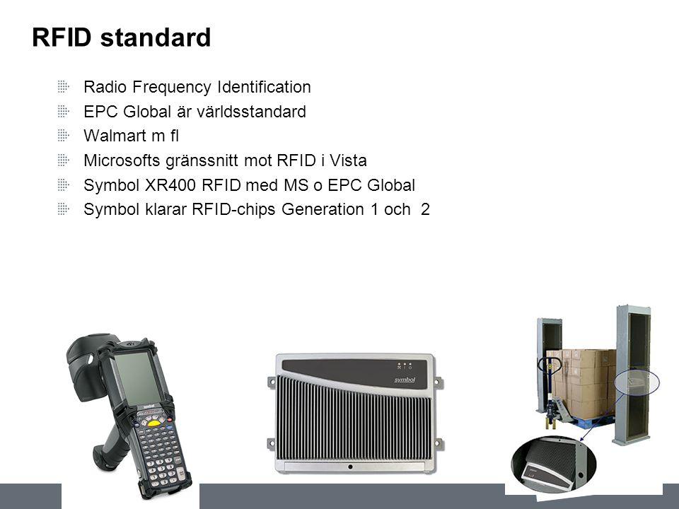 RFID standard Radio Frequency Identification EPC Global är världsstandard Walmart m fl Microsofts gränssnitt mot RFID i Vista Symbol XR400 RFID med MS