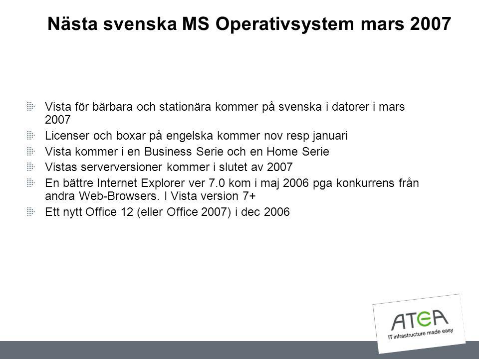 Nästa svenska MS Operativsystem mars 2007 Vista för bärbara och stationära kommer på svenska i datorer i mars 2007 Licenser och boxar på engelska komm