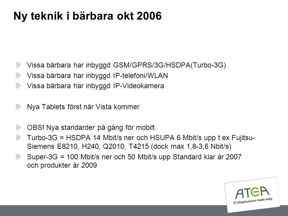 Ny teknik i bärbara okt 2006 Vissa bärbara har inbyggd GSM/GPRS/3G/HSDPA(Turbo-3G) Vissa bärbara har inbyggd IP-telefoni/WLAN Vissa bärbara har inbygg