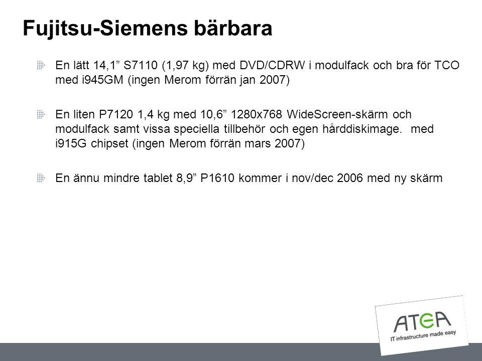 """Fujitsu-Siemens bärbara En lätt 14,1"""" S7110 (1,97 kg) med DVD/CDRW i modulfack och bra för TCO med i945GM (ingen Merom förrän jan 2007) En liten P7120"""