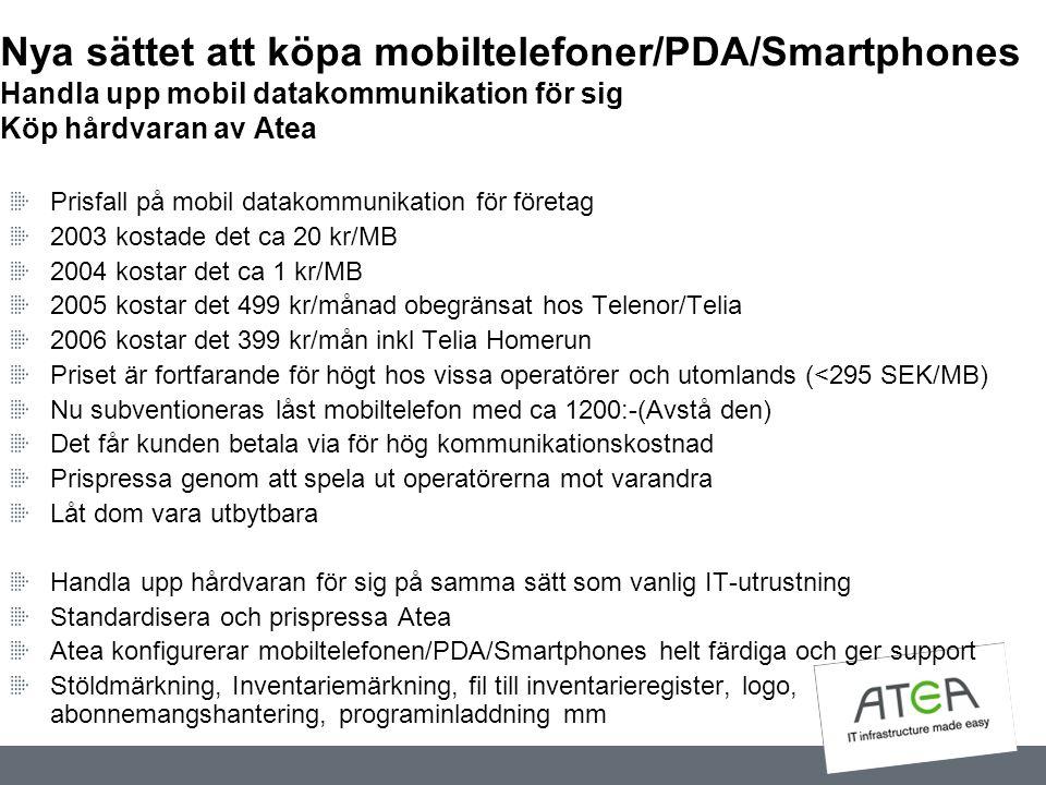 Nya sättet att köpa mobiltelefoner/PDA/Smartphones Handla upp mobil datakommunikation för sig Köp hårdvaran av Atea Prisfall på mobil datakommunikatio