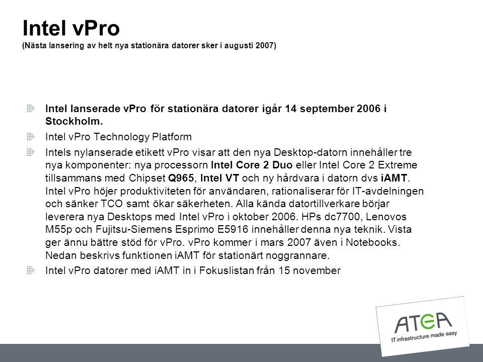 Intel vPro (Nästa lansering av helt nya stationära datorer sker i augusti 2007) Intel lanserade vPro för stationära datorer igår 14 september 2006 i S