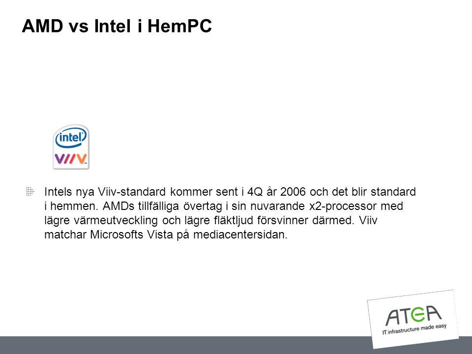 AMD vs Intel i HemPC Intels nya Viiv-standard kommer sent i 4Q år 2006 och det blir standard i hemmen. AMDs tillfälliga övertag i sin nuvarande x2-pro