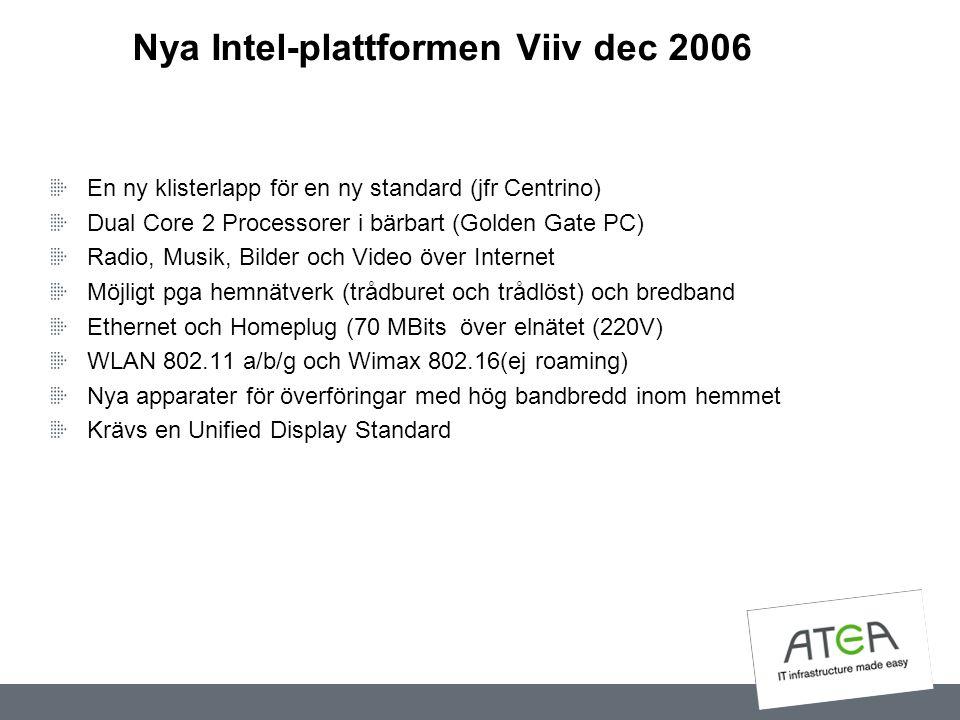 Nya Intel-plattformen Viiv dec 2006 En ny klisterlapp för en ny standard (jfr Centrino) Dual Core 2 Processorer i bärbart (Golden Gate PC) Radio, Musi