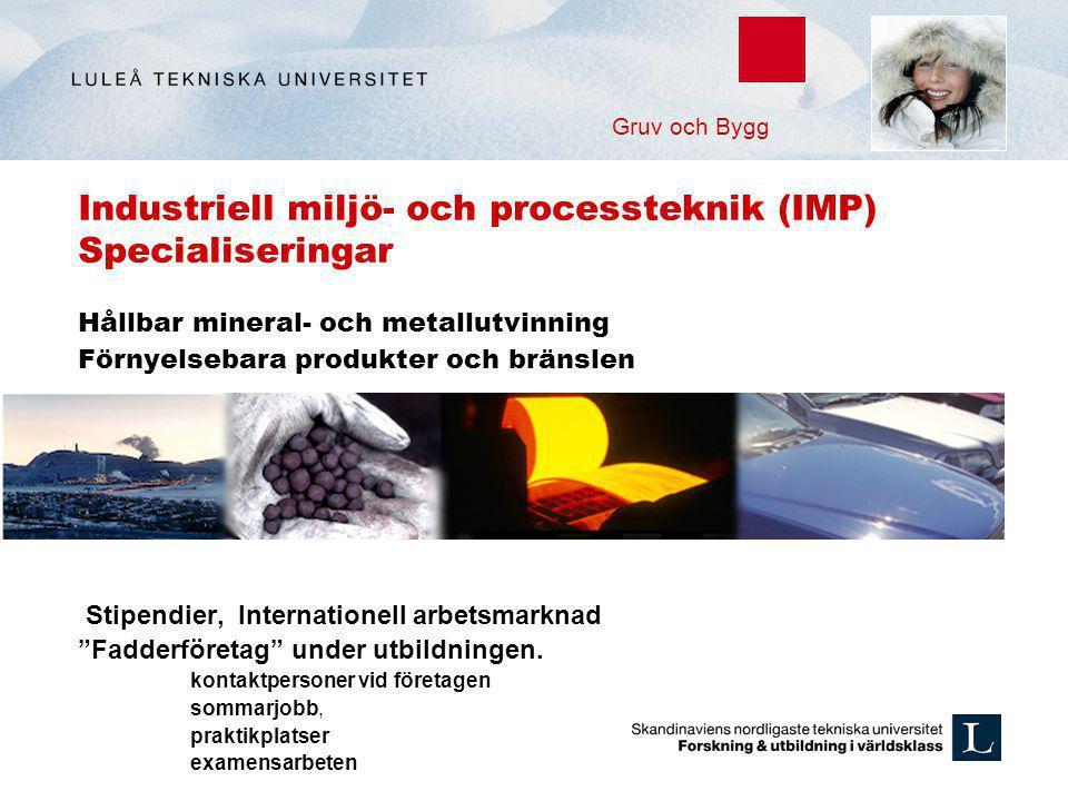 Industriell miljö- och processteknik (IMP) Specialiseringar Hållbar mineral- och metallutvinning Förnyelsebara produkter och bränslen Stipendier, Inte