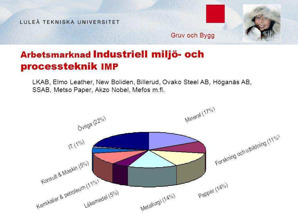 Arbetsmarknad Industriell miljö- och processteknik IMP LKAB, Elmo Leather, New Boliden, Billerud, Ovako Steel AB, Höganäs AB, SSAB, Metso Paper, Akzo