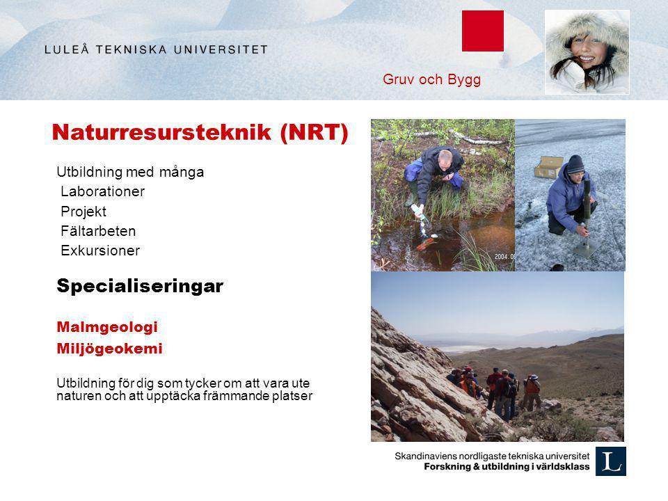 Naturresursteknik (NRT) Utbildning med många Laborationer Projekt Fältarbeten Exkursioner Specialiseringar Malmgeologi Miljögeokemi Utbildning för dig