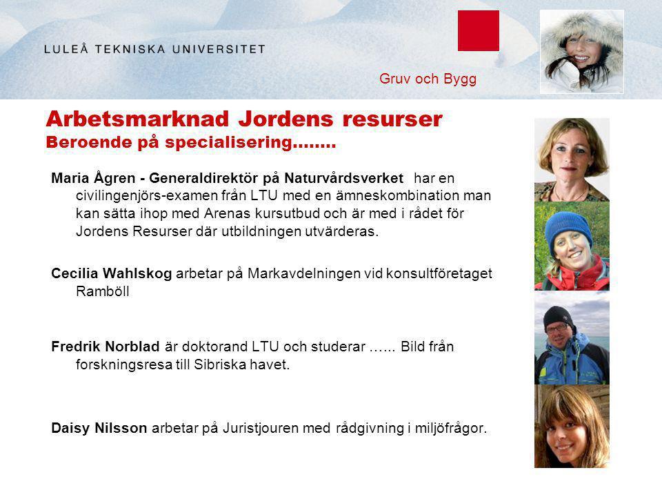 Arbetsmarknad Jordens resurser Beroende på specialisering…….. Maria Ågren - Generaldirektör på Naturvårdsverket har en civilingenjörs-examen från LTU