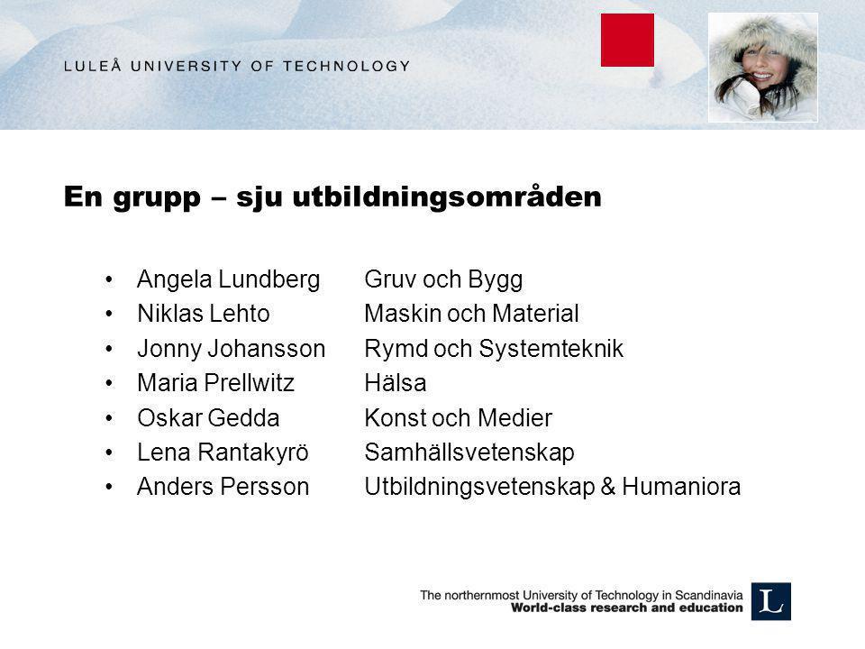 En grupp – sju utbildningsområden •Angela Lundberg Gruv och Bygg •Niklas Lehto Maskin och Material •Jonny Johansson Rymd och Systemteknik •Maria Prell