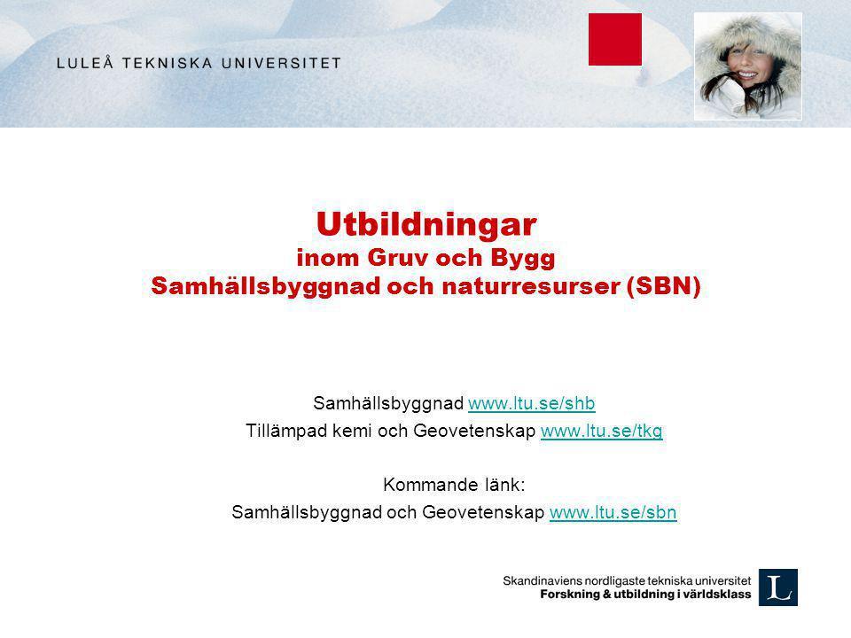 Utbildningar inom Gruv och Bygg Samhällsbyggnad och naturresurser (SBN) Samhällsbyggnad www.ltu.se/shbwww.ltu.se/shb Tillämpad kemi och Geovetenskap w