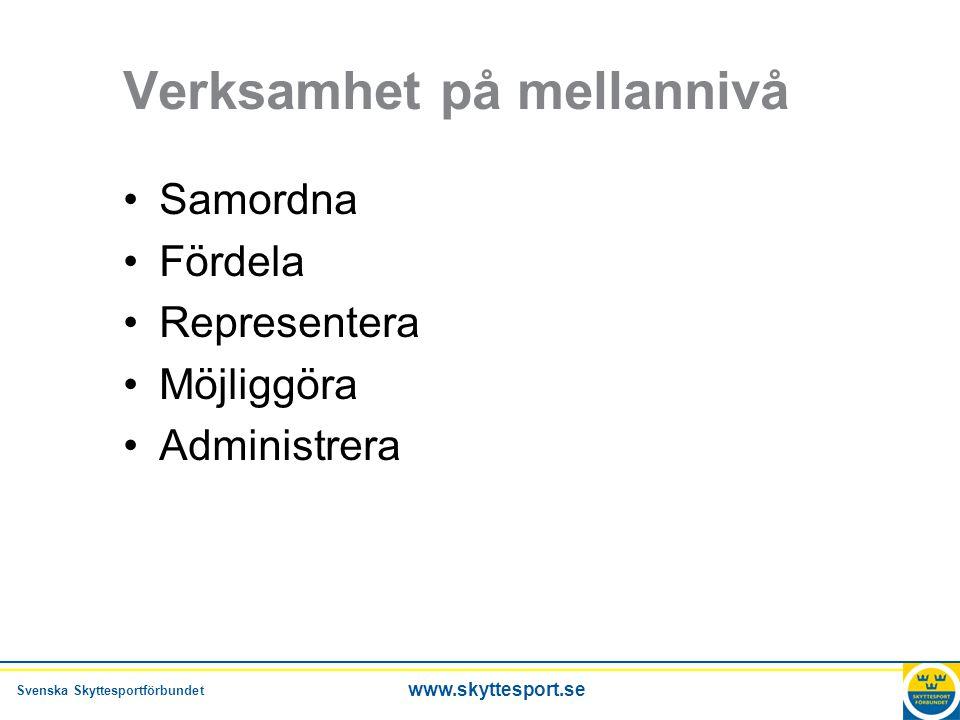Svenska Skyttesportförbundet www.skyttesport.se Verksamhet på mellannivå •Samordna •Fördela •Representera •Möjliggöra •Administrera