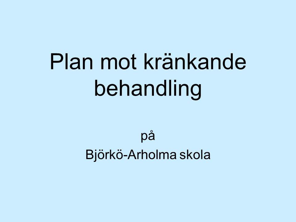Plan mot kränkande behandling på Björkö-Arholma skola