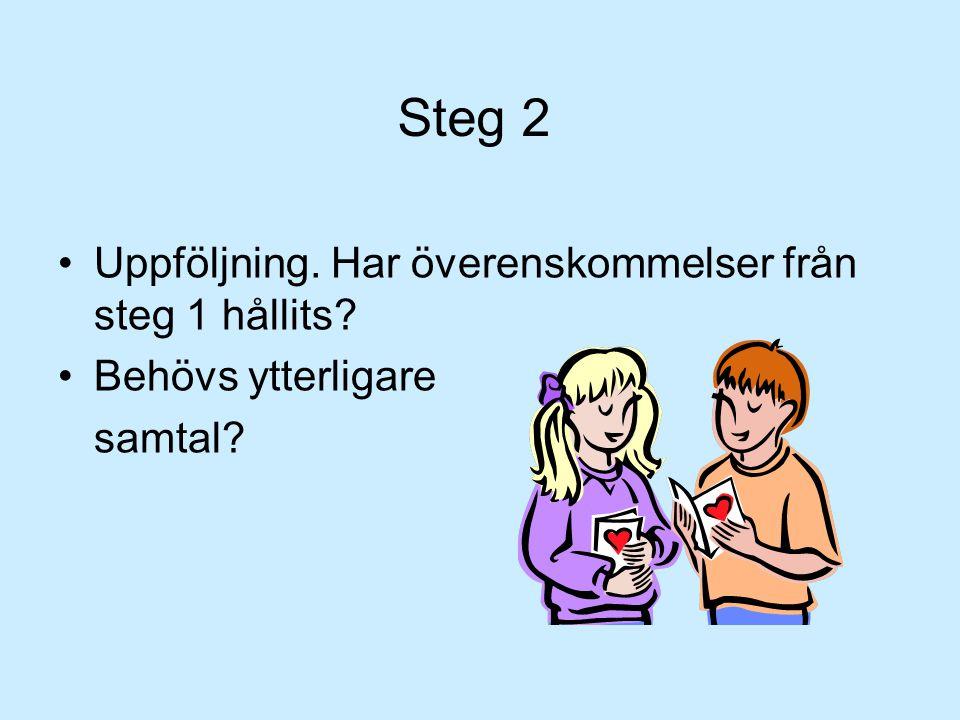 Steg 2 •Uppföljning. Har överenskommelser från steg 1 hållits? •Behövs ytterligare samtal?