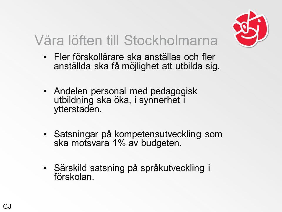 Våra löften till Stockholmarna •Fler förskollärare ska anställas och fler anställda ska få möjlighet att utbilda sig.