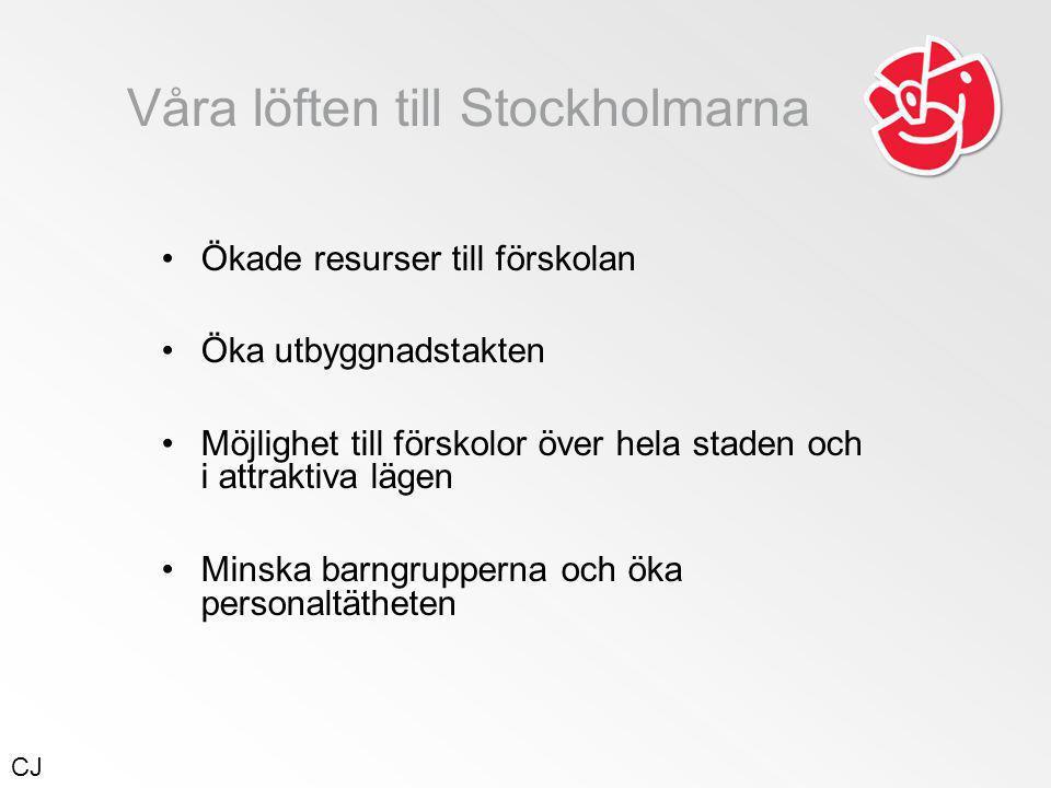 Våra löften till Stockholmarna •Ökade resurser till förskolan •Öka utbyggnadstakten •Möjlighet till förskolor över hela staden och i attraktiva lägen •Minska barngrupperna och öka personaltätheten CJ