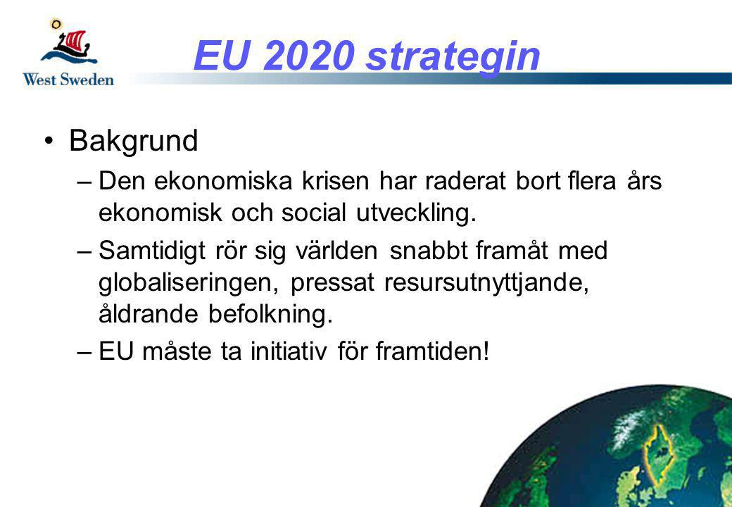 EU 2020 strategin •Europa 2020 –Smart tillväxt •Kunskap och innovation –Uthållig tillväxt •Effektivt resursutnyttjande, grönare och konkurrenskraft –Integrerad tillväxt •Hög sysselsättning som skapar social och territoriell sammanhållning