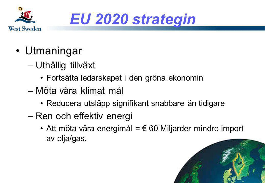 EU 2020 strategin •Utmaningar –Uthållig tillväxt •Fortsätta ledarskapet i den gröna ekonomin –Möta våra klimat mål •Reducera utsläpp signifikant snabbare än tidigare –Ren och effektiv energi •Att möta våra energimål = € 60 Miljarder mindre import av olja/gas.