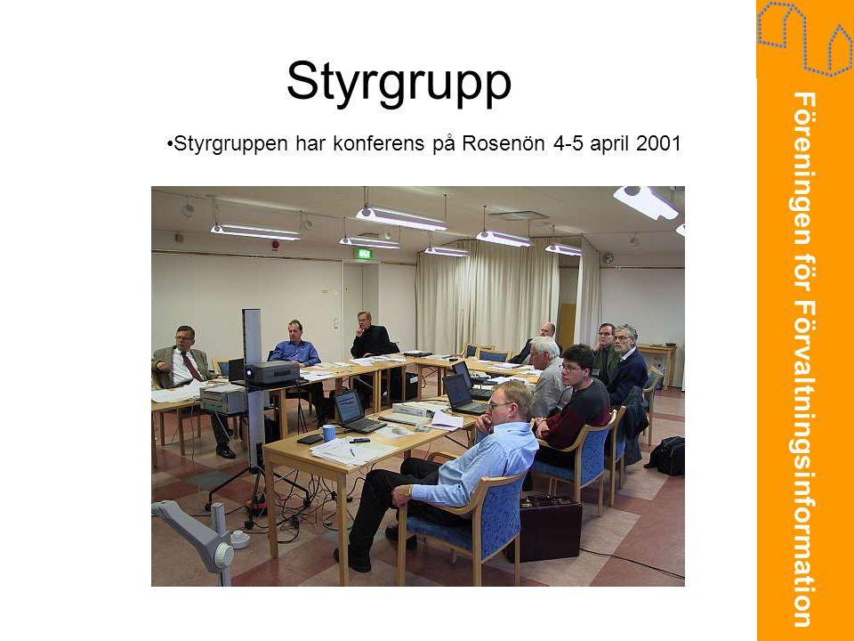 Föreningen för Förvaltningsinformation Styrgrupp •Styrgruppen har konferens på Rosenön 4-5 april 2001