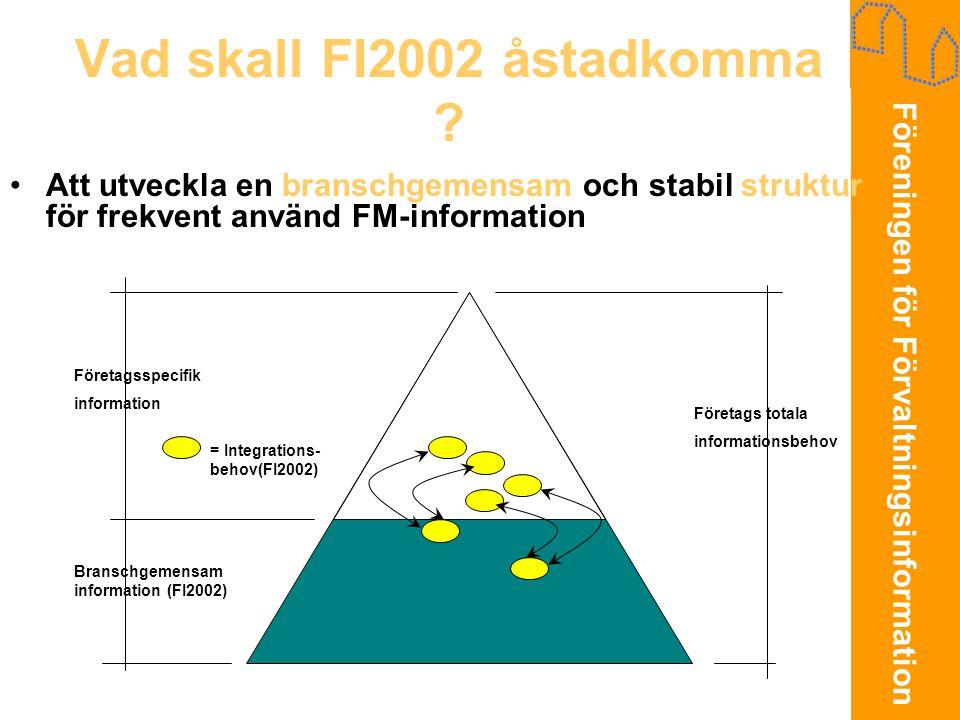 Föreningen för Förvaltningsinformation Vad skall FI2002 åstadkomma ? •Att utveckla en branschgemensam och stabil struktur för frekvent använd FM-infor
