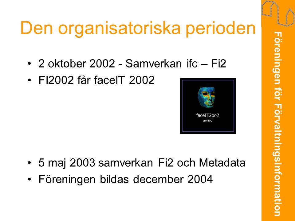 Föreningen för Förvaltningsinformation Den organisatoriska perioden •2 oktober 2002 - Samverkan ifc – Fi2 •FI2002 får faceIT 2002 •5 maj 2003 samverka