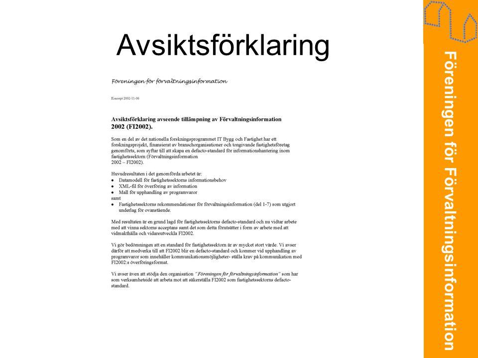 Föreningen för Förvaltningsinformation Avsiktsförklaring