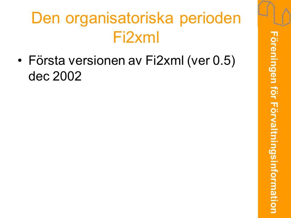 Föreningen för Förvaltningsinformation Den organisatoriska perioden Fi2xml •Första versionen av Fi2xml (ver 0.5) dec 2002