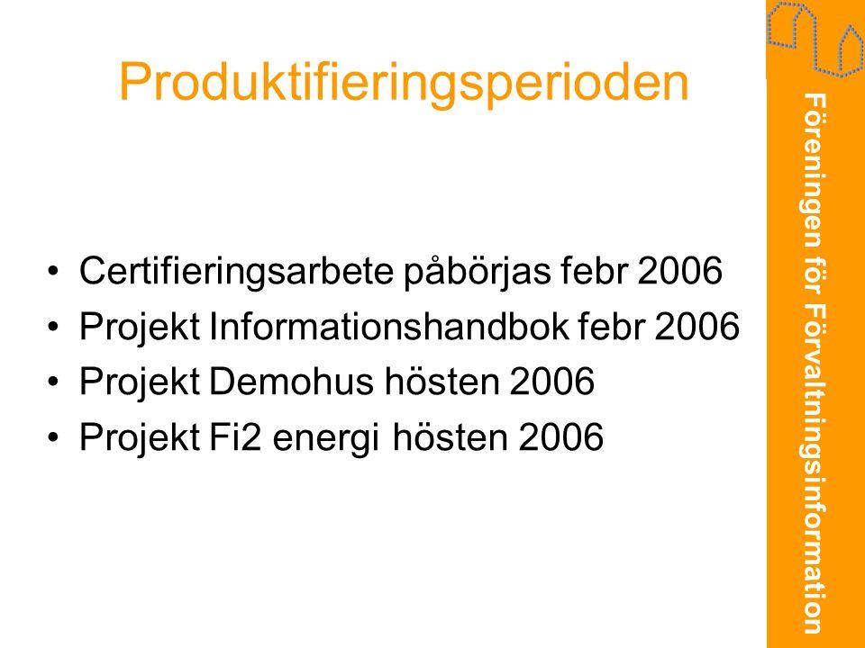 Föreningen för Förvaltningsinformation Produktifieringsperioden •Certifieringsarbete påbörjas febr 2006 •Projekt Informationshandbok febr 2006 •Projek
