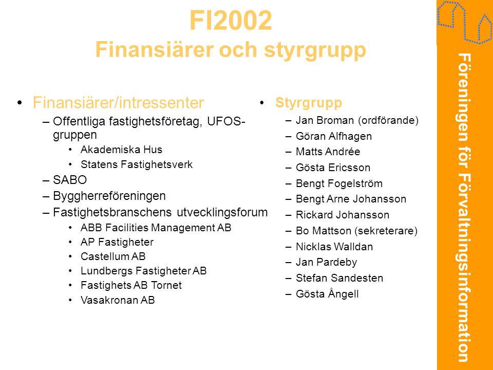 Föreningen för Förvaltningsinformation FI2002 Finansiärer och styrgrupp •Finansiärer/intressenter –Offentliga fastighetsföretag, UFOS- gruppen •Akadem