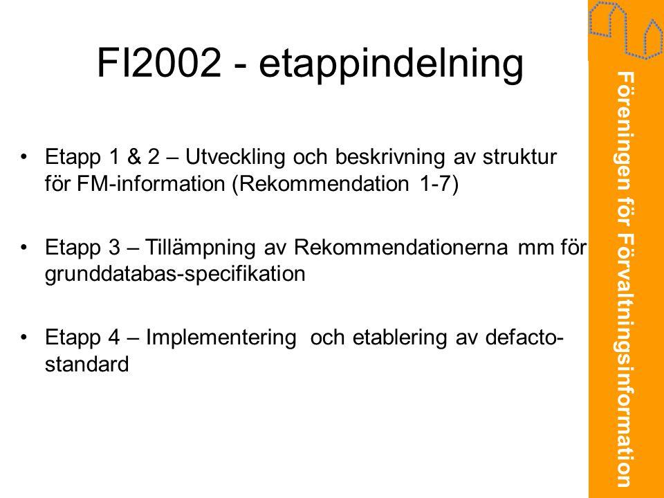 Föreningen för Förvaltningsinformation FI2002 - etappindelning •Etapp 1 & 2 - den teoretiska modellen •Etapp 3 – Praktiskt användbara modeller •Etapp 4 – Implementering och etablering av defacto- standard