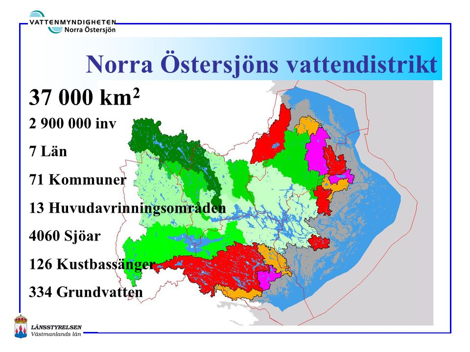 Vattendirektivet - ram Ytvatten och Grundvatten (sjöar, vattendrag och kustvatten) Avrinningsområdesgränser styr (ej administrativa gränser) God vattenstatus (kemisk, ekologisk/kvantitativ) Kraftigt modifierade vatten (God ekologisk potential) Inget vatten får försämras!