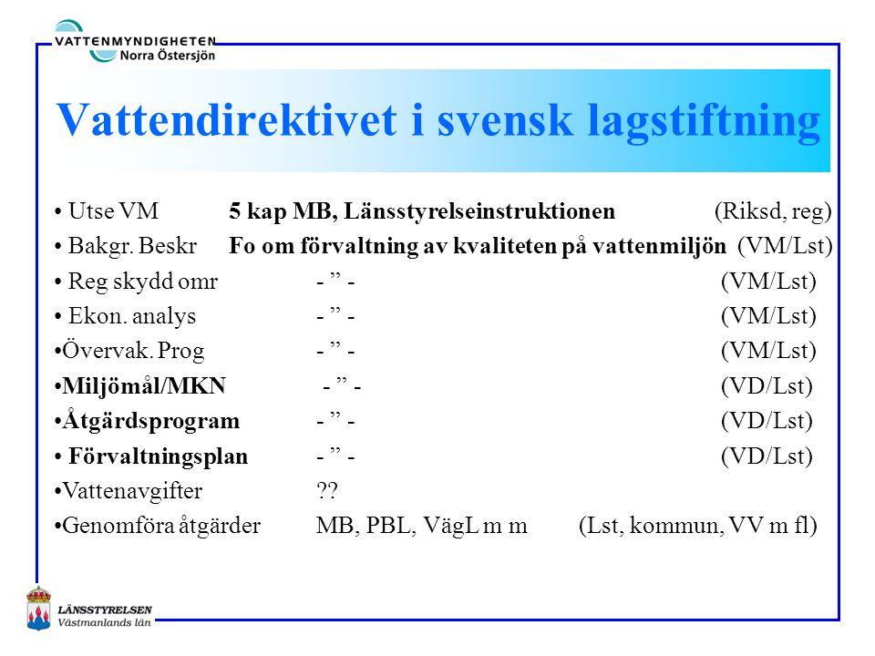 Vattendirektivet i svensk lagstiftning • Utse VM5 kap MB, Länsstyrelseinstruktionen (Riksd, reg) • Bakgr. BeskrFo om förvaltning av kvaliteten på vatt