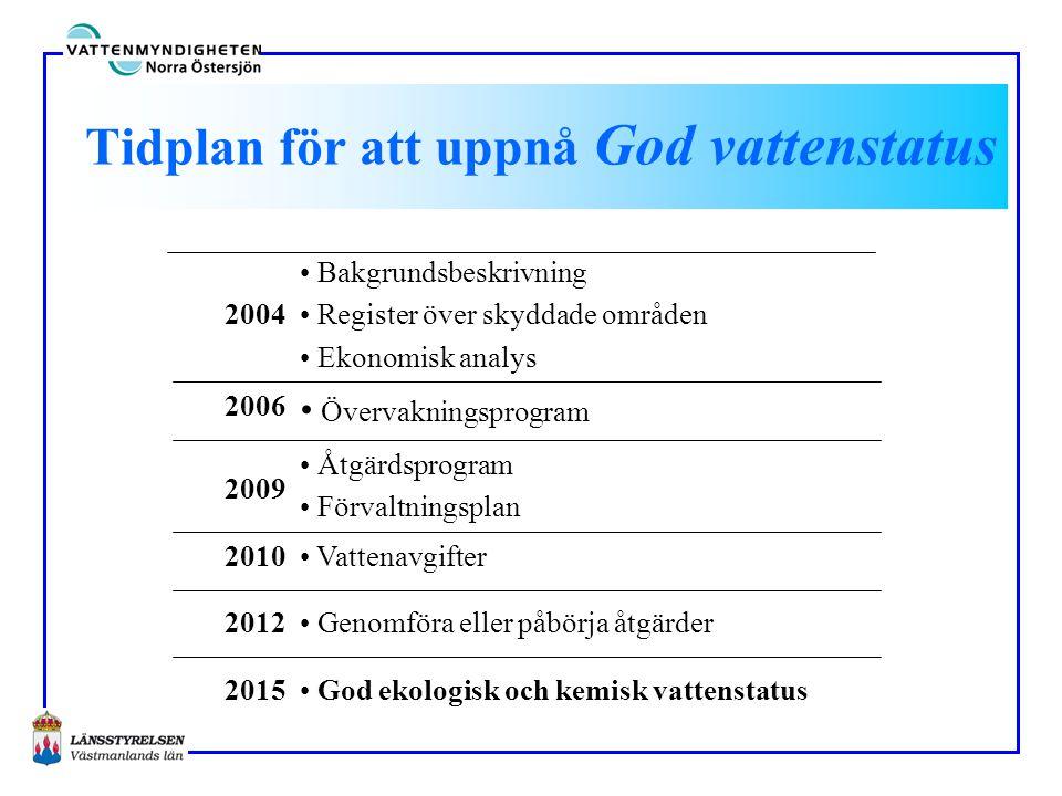 Tidplan för att uppnå God vattenstatus • God ekologisk och kemisk vattenstatus2015 • Genomföra eller påbörja åtgärder2012 • Vattenavgifter2010 • Åtgär
