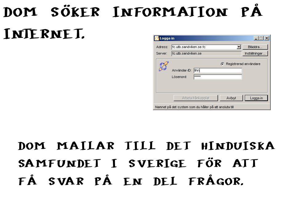 DOM SÖKER INFORMATION PÅ INTERNET. DOM MAILAR TILL DET HINDUISKA SAMFUNDET I SVERIGE FÖR ATT FÅ SVAR PÅ EN DEL FRÅGOR.
