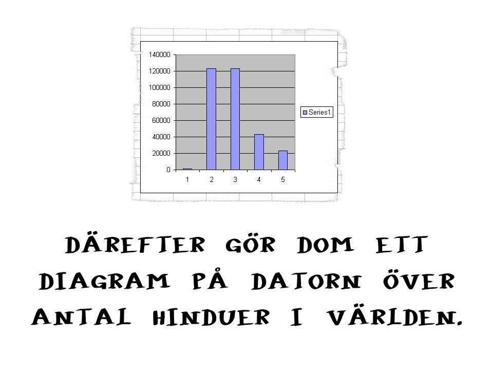 DÄREFTER GÖR DOM ETT DIAGRAM PÅ DATORN ÖVER ANTAL HINDUER I VÄRLDEN.