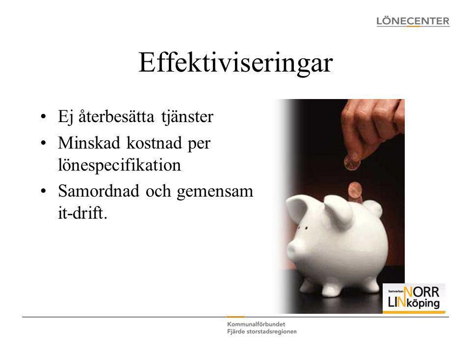 Effektiviseringar •Ej återbesätta tjänster •Minskad kostnad per lönespecifikation •Samordnad och gemensam it-drift.