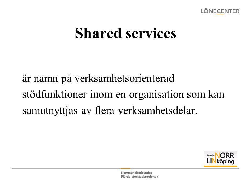 Shared services är namn på verksamhetsorienterad stödfunktioner inom en organisation som kan samutnyttjas av flera verksamhetsdelar.