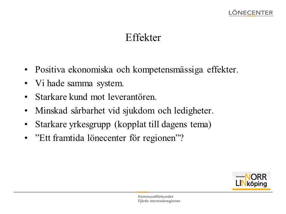 Effekter •Positiva ekonomiska och kompetensmässiga effekter. •Vi hade samma system. •Starkare kund mot leverantören. •Minskad sårbarhet vid sjukdom oc
