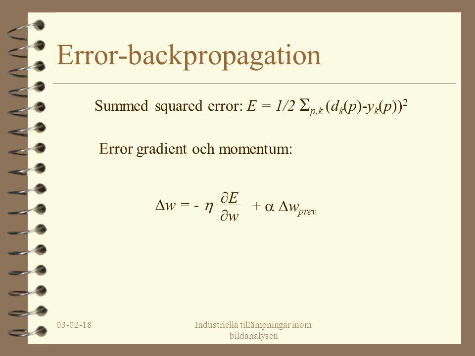 03-02-18Industriella tillämpningar inom bildanalysen Error-backpropagation Summed squared error: E = 1/2  p,k (d k (p)-y k (p)) 2 Error gradient ∂E ∂w∂w ∆w = -  +  ∆w prev.