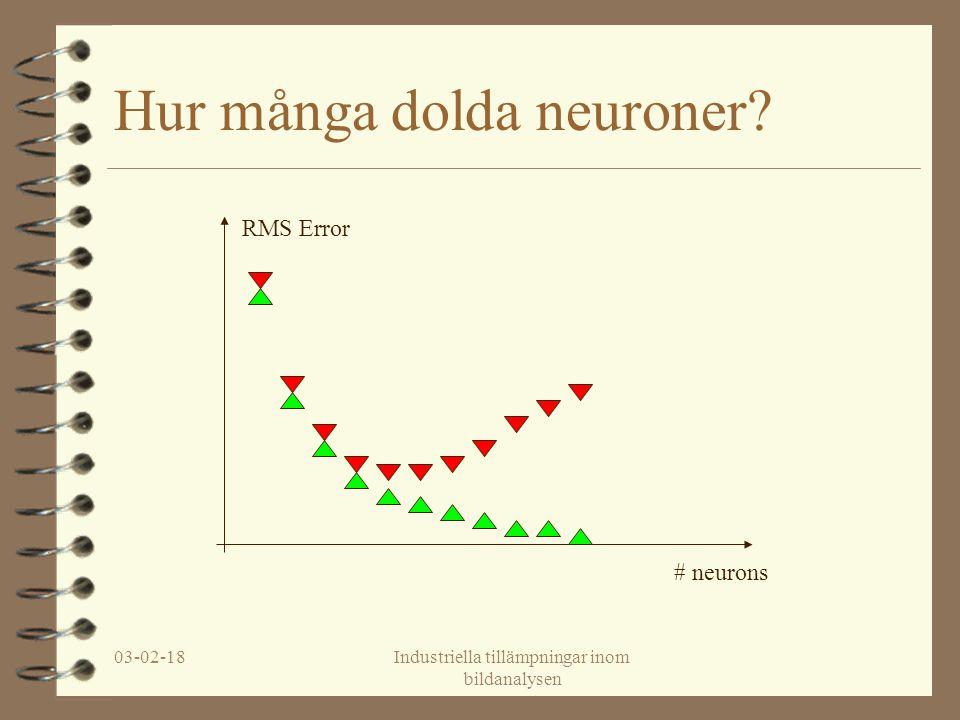 03-02-18Industriella tillämpningar inom bildanalysen Hur många dolda neuroner? RMS Error # neurons