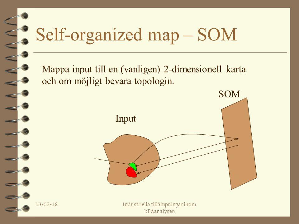 03-02-18Industriella tillämpningar inom bildanalysen Self-organized map – SOM Input SOM Mappa input till en (vanligen) 2-dimensionell karta och om möjligt bevara topologin.
