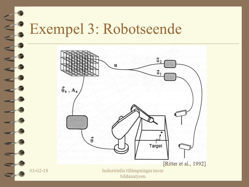 03-02-18Industriella tillämpningar inom bildanalysen Exempel 3: Robotseende [Ritter et al., 1992]