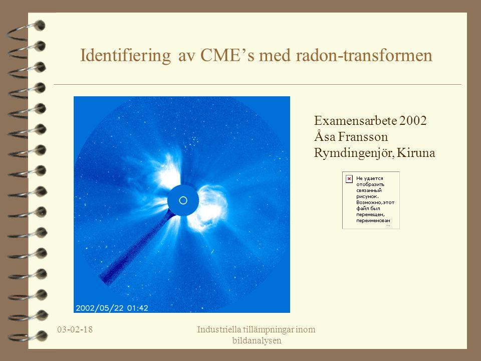 03-02-18Industriella tillämpningar inom bildanalysen Identifiering av CME's med radon-transformen Examensarbete 2002 Åsa Fransson Rymdingenjör, Kiruna