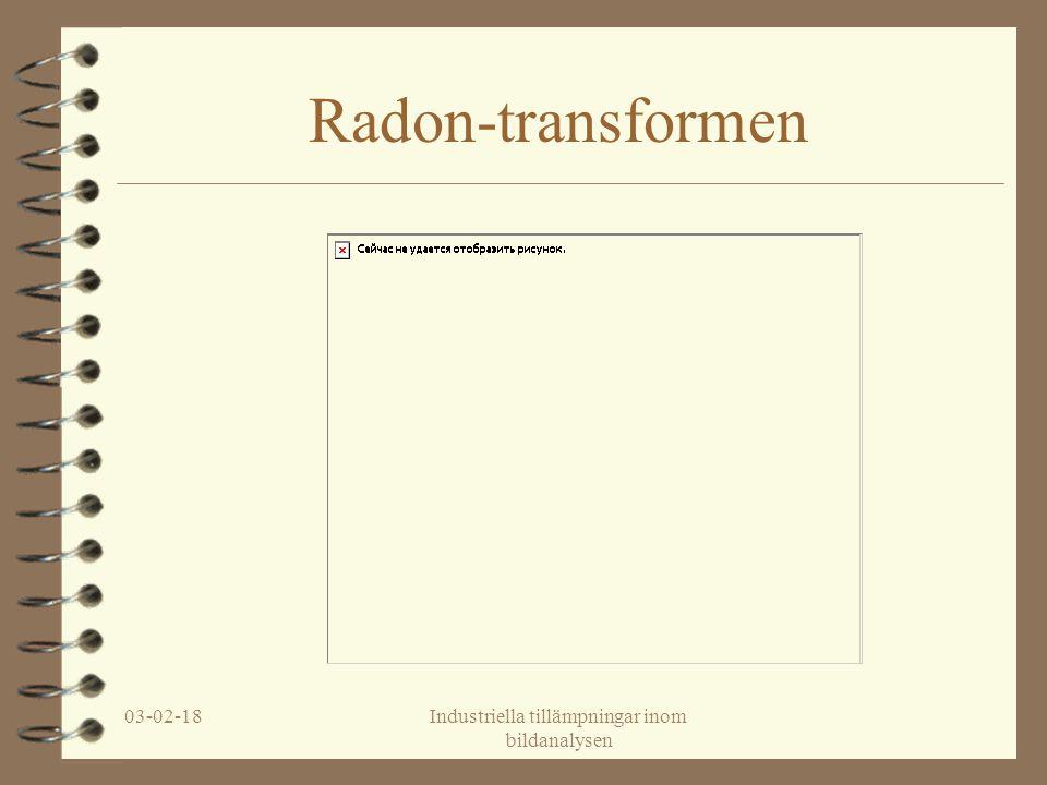 03-02-18Industriella tillämpningar inom bildanalysen Radon-transformen